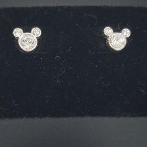 Disney Silver  Mickey Head Stud Earrings NWT